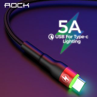 ROCK Type LED Light USB Type C Cable Fast Charging Cable